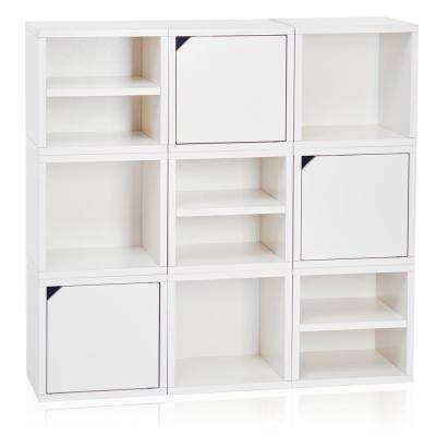 Connect System 40.2 in. W x 37.8 in. H zBoard Paperboard Modular Eco Stackable 9-Cube Cubby Organizer in Natural White