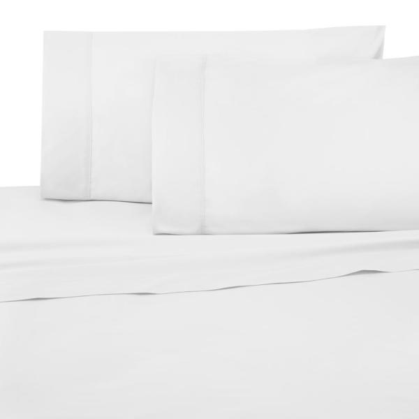 Under The Canopy Brushed Organic 4-Piece White Queen Sheet Set