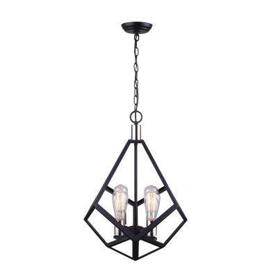 Marena 4-Light Matte Black and Brushed Nickel Chandelier