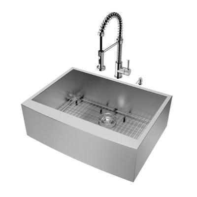All-in-One Stainless Steel 30 in. Single Bowl Farmhouse Apron Front Kitchen Sink with Pull Down Faucet