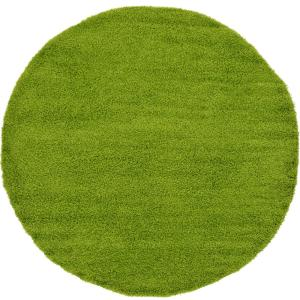 Unique Loom Solid Shag Grass Green 6 Ft Round Area Rug 3127903