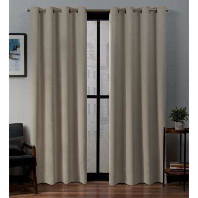 Sateen 52 in. W x 108 in. L Woven Blackout Grommet Top Curtain Panel in Stone (2 Panels)