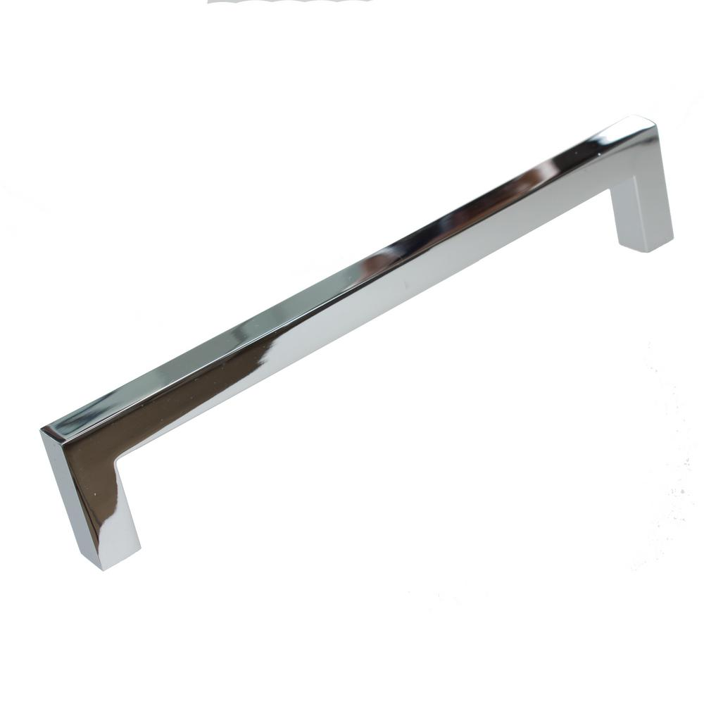 Solid Square Slim Polished Chrome Cabinet Bar Pull