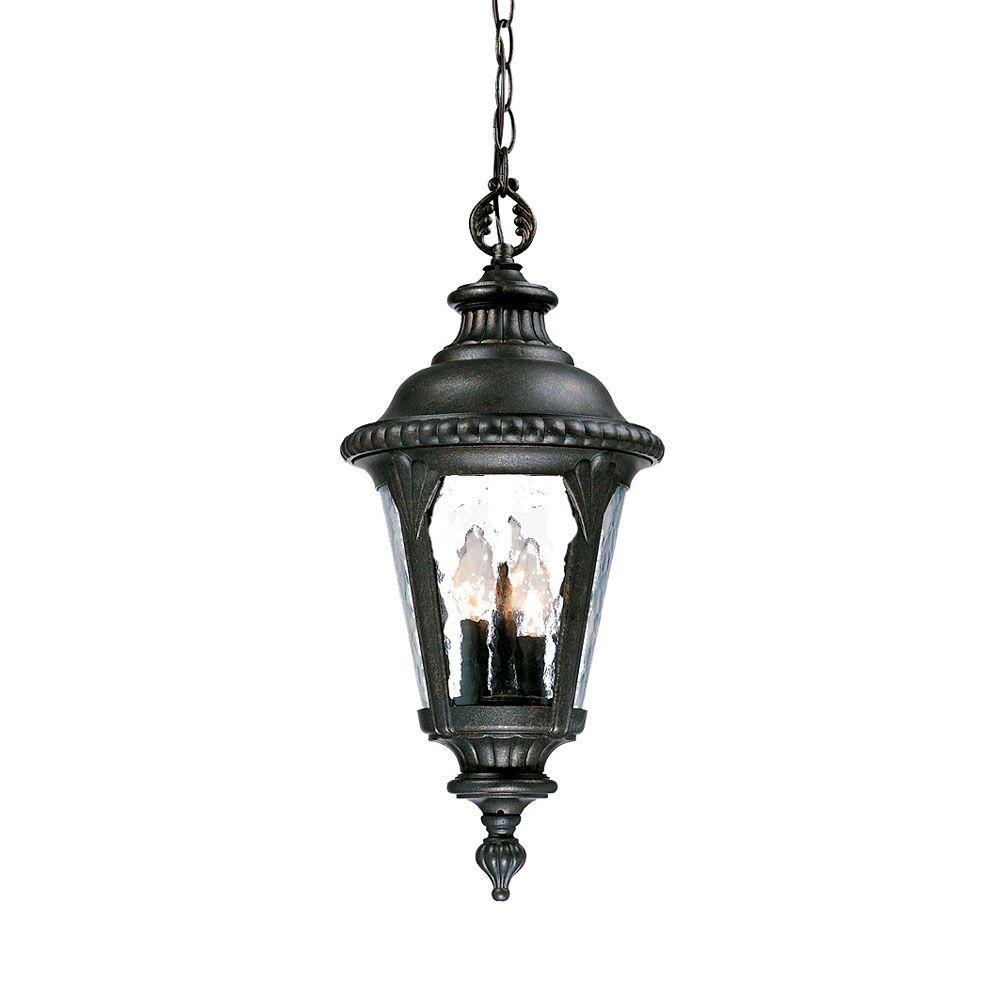Surrey Collection Hanging Lantern 3-Light Outdoor Black Gold Light Fixture