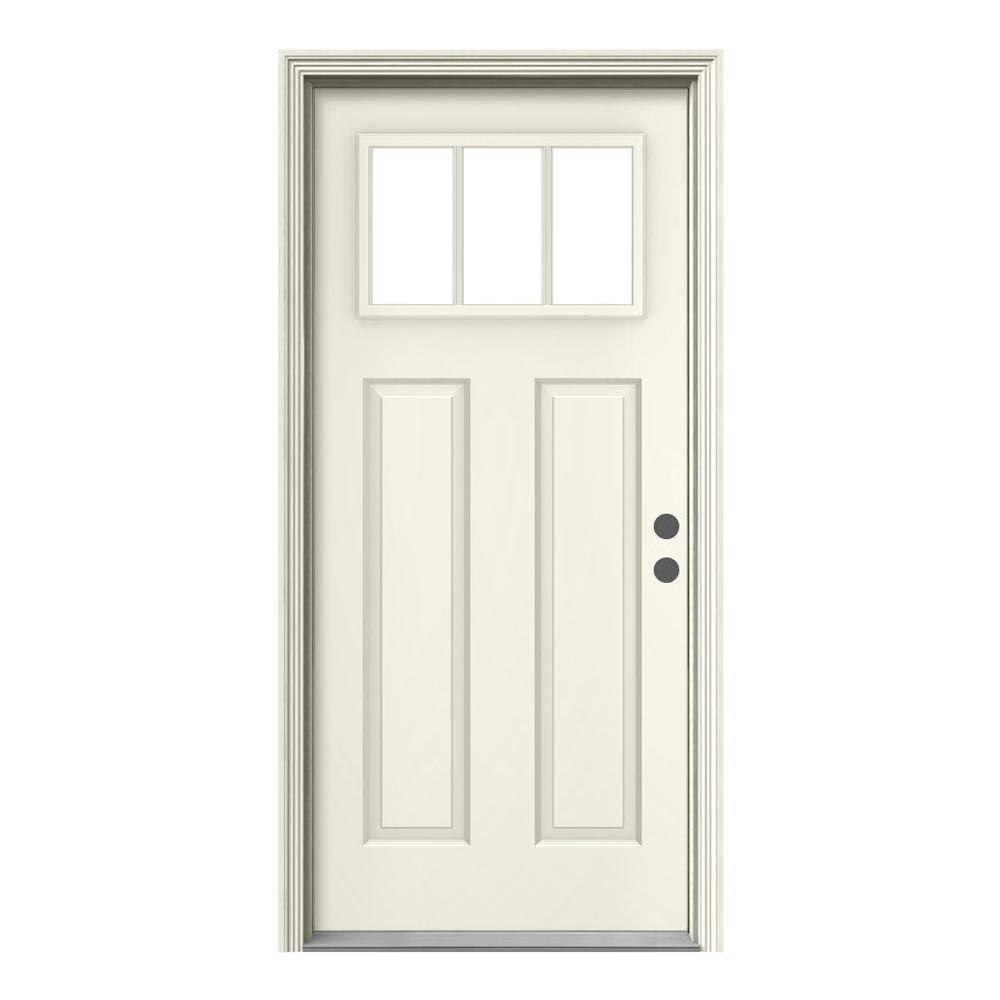 36 in. x 80 in. 3 Lite Craftsman Primed Steel Prehung Left-Hand Inswing Front Door w/Brickmould
