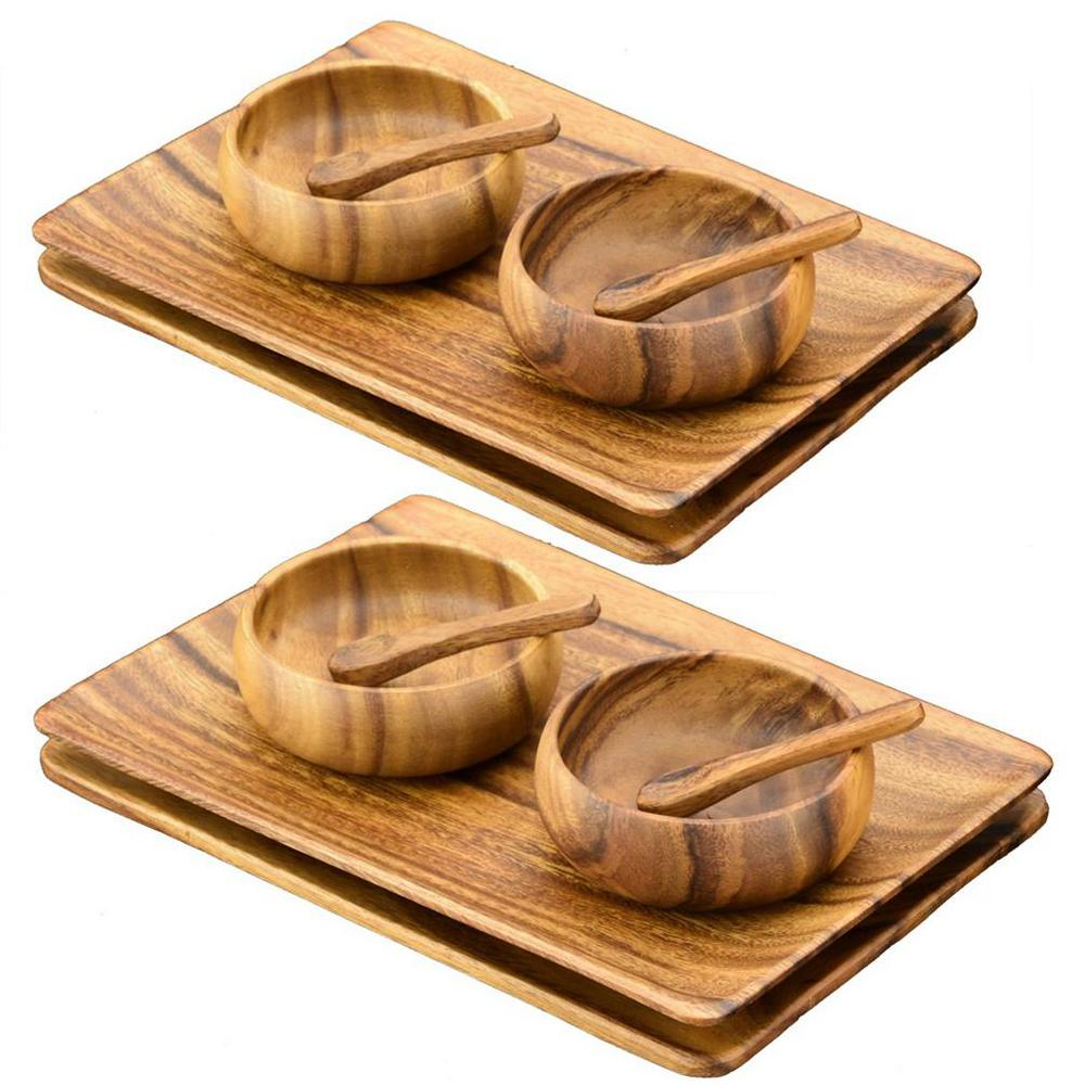12-Piece Wooden Appetizer Serving Tray Set with Serving Bowls and Spoons
