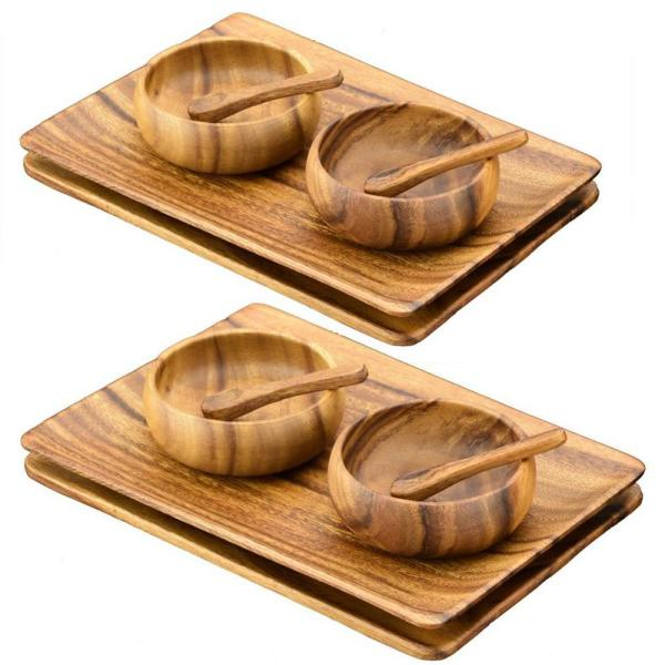 Acaciaware 12-Piece Wooden Appetizer Serving Tray Set with Serving Bowls and