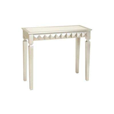 Pearlized White and Iridescent Silver Art Deco-Inspired Console Table