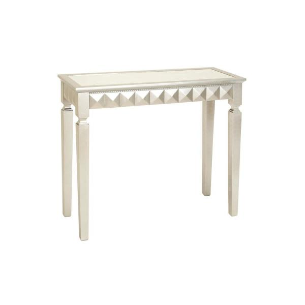 Litton Lane Pearlized White and Iridescent Silver Art Deco-Inspired Console