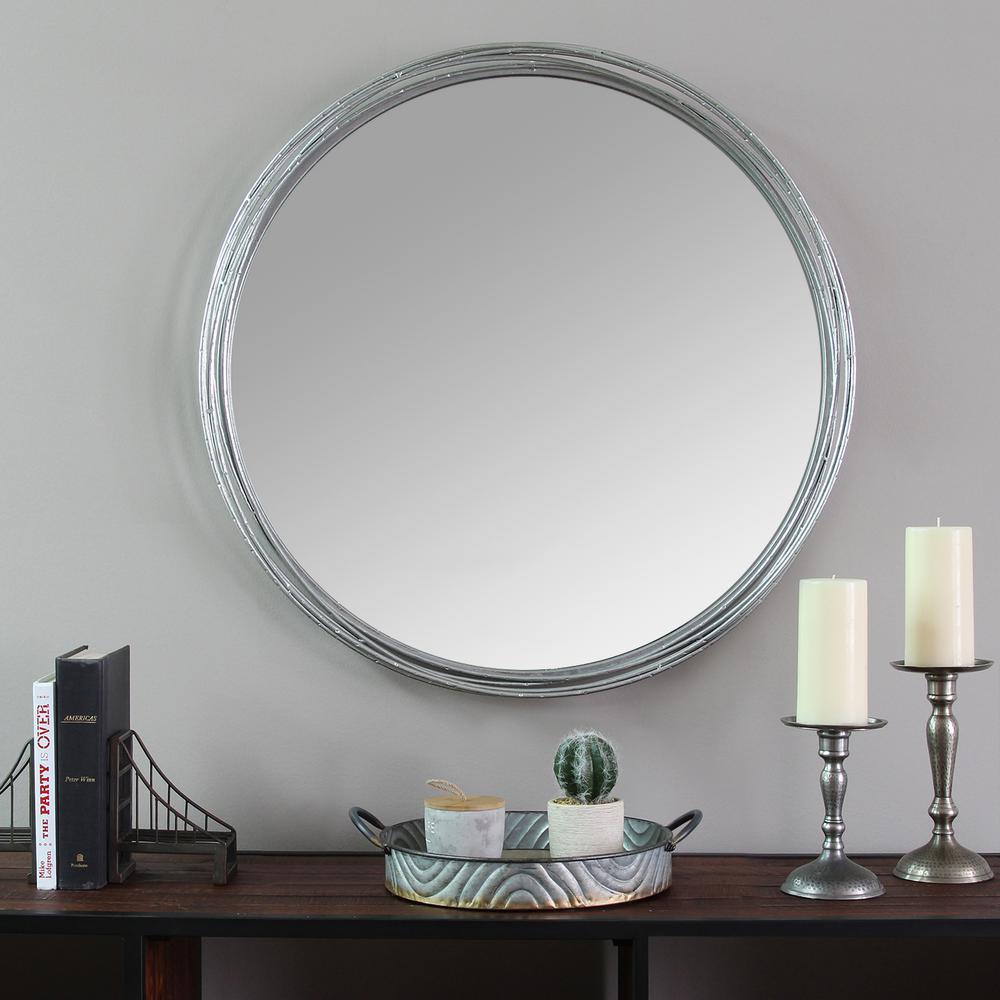 Stratton Home Decor Medium Round Silver Contemporary Mirror 29 5 In H X 29 5 In W S09557 The Home Depot