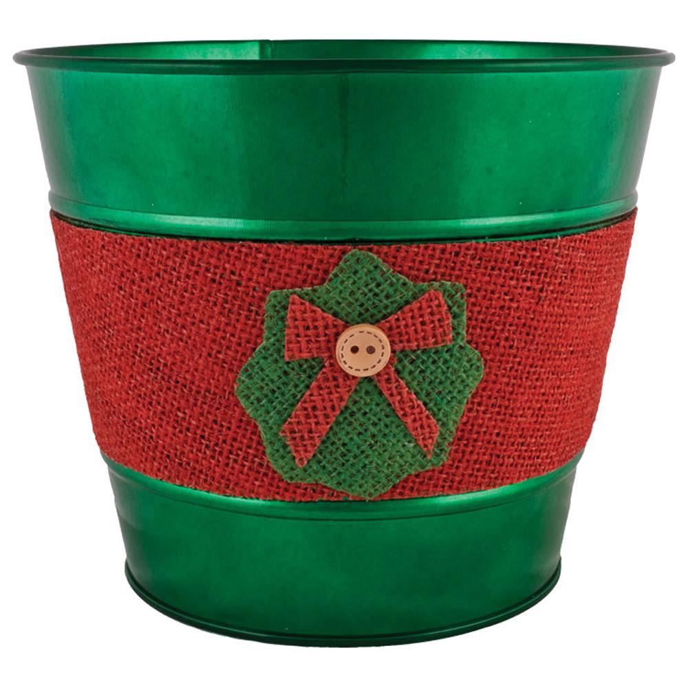 Jute Wreath 7 in. Dia. Emerald Tin Pot
