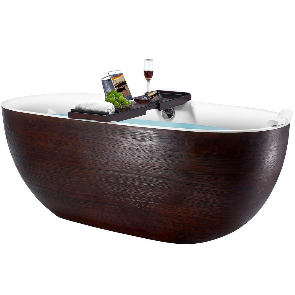 Freestanding 67 in. Acrylic Flatbottom Bathtub Modern Stand Alone Tub Luxurious SPA Tub in Brown Wood