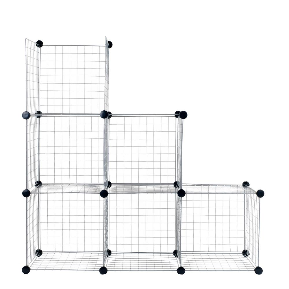 Charmant Black Modular Mesh Storage 6 Cube