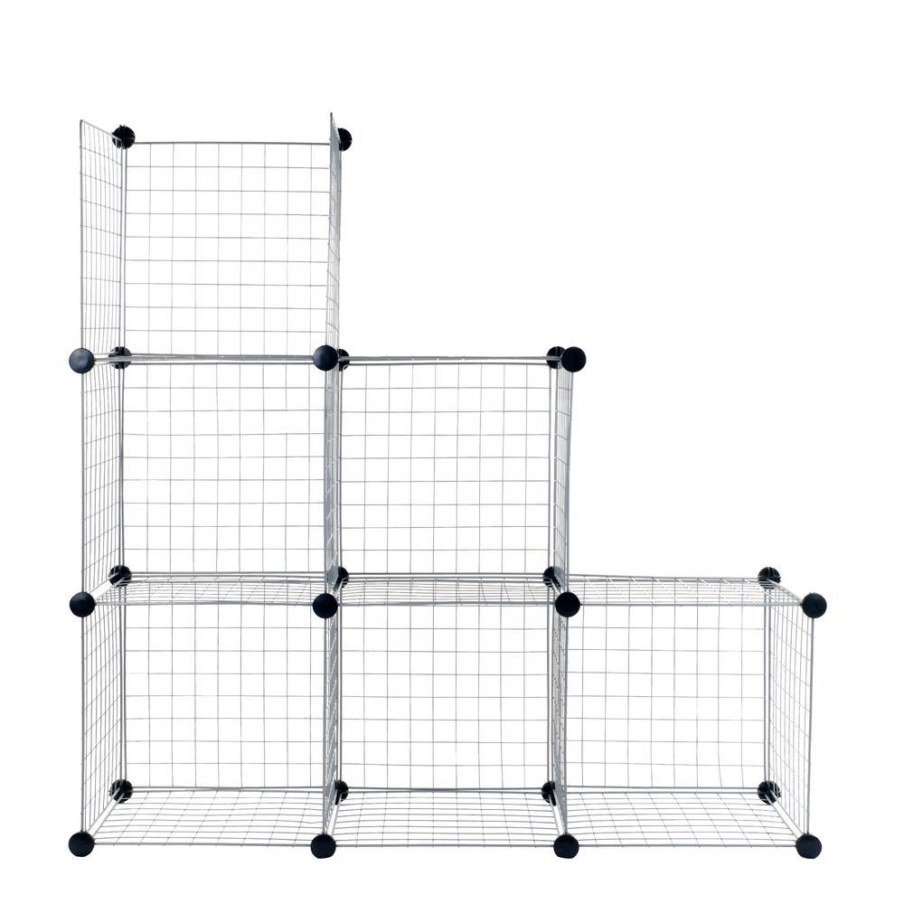 14 in. x 14 in. Black Modular Mesh Storage 6-Cube Organizer