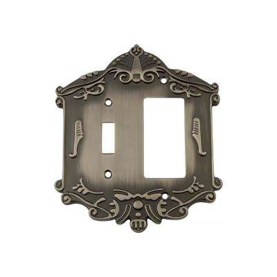 Victorian Switch Plate with Toggle and Rocker in Antique Pewter