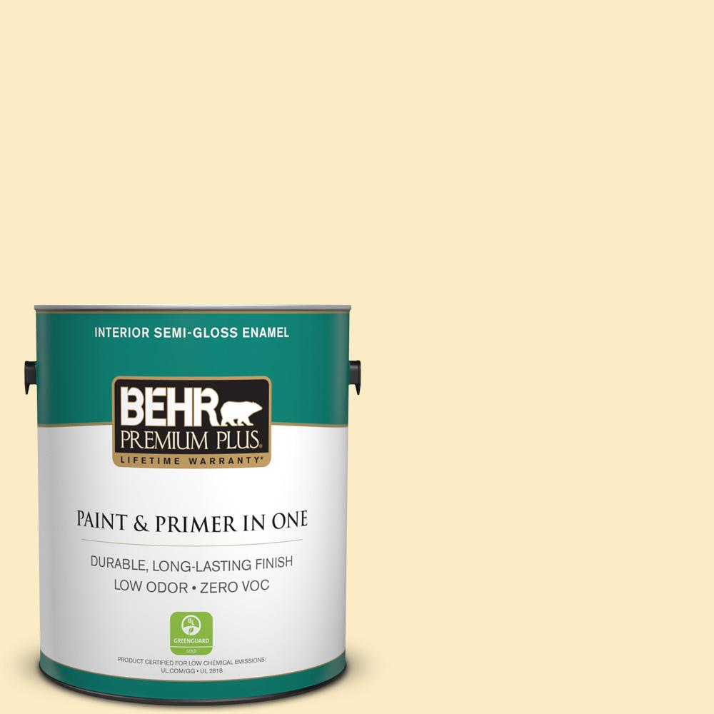 BEHR Premium Plus 1-gal. #350A-3 Pale Sunshine Zero VOC Semi-Gloss Enamel Interior Paint