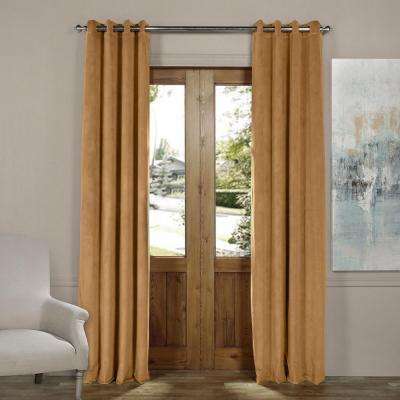 Blackout Signature Amber Gold Grommet Blackout Velvet Curtain - 50 in. W x 108 in. L (1 Panel)