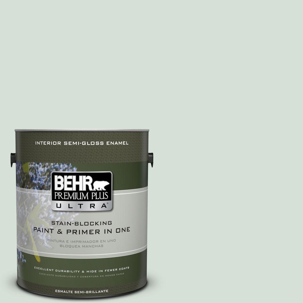 BEHR Premium Plus Ultra 1-gal. #S410-1 River Mist Semi-Gloss Enamel Interior Paint