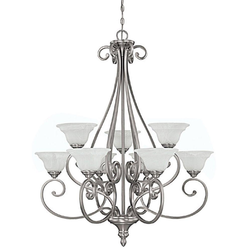 Filament Design 9-Light Matte Nickel Chandelier with Faux White Alabaster Glass Shade