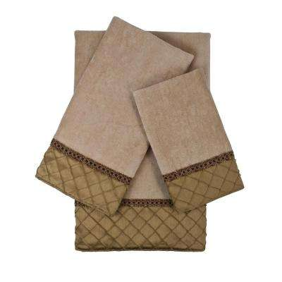 Pleated Diamond Royale and Gold Embellished Towel Set (3-Piece)
