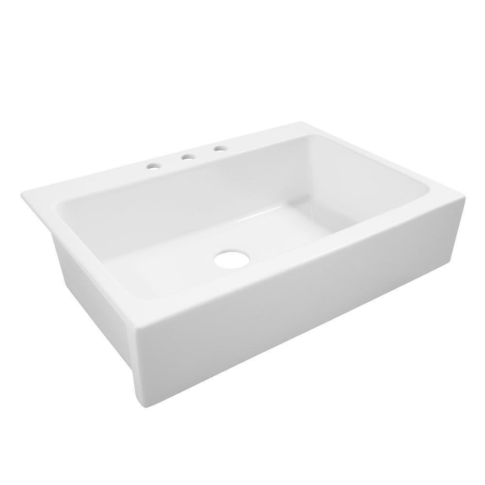 SINKOLOGY Josephine Quick-Fit Drop-in Farmhouse Fireclay 33.85 in. 3-Hole Single Bowl Kitchen Sink in Crisp White