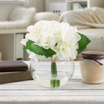 7.5 in. Hydrangea Artificial Floral White Arrangement