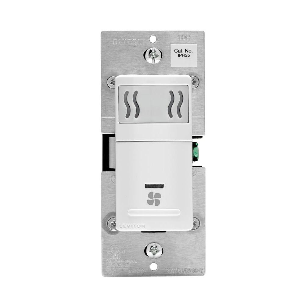 Leviton 5 amp humidity sensor fan speed control white r02 iphs5 0lw the home depot Humidity activated bathroom fan