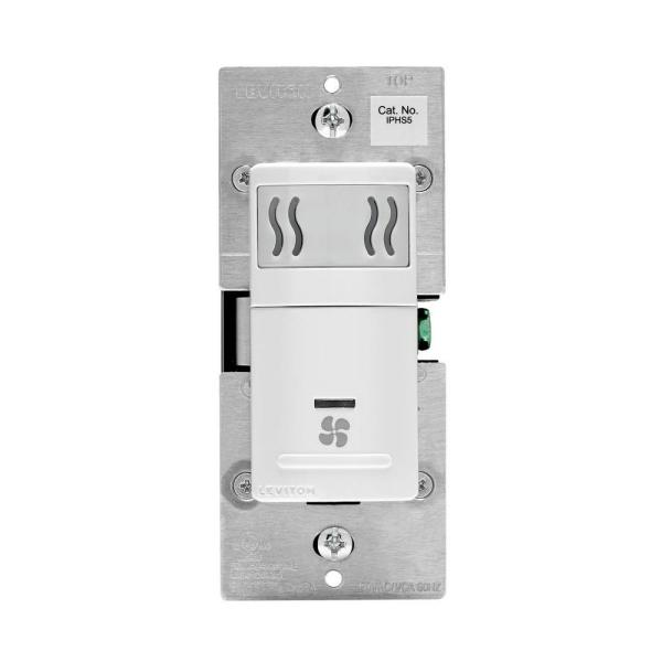 Decora In-Wall Humidity Sensor & Fan Control, 3 A, Single Pole, White