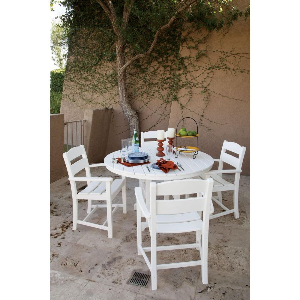 Ivy Terrace Classics White 5-Piece Plastic Outdoor Patio Dining Set