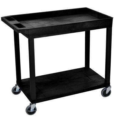 EC 35.25 in. W x 18 in. D x 32.5 in. H Utility Cart with 1-Tub and 1-Flat Shelf in Black