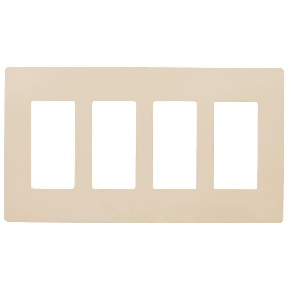 Faith 4-Gang Decorator Screwless Wall Plate, GFCI Outlet/Rocker Switch  Cover, Four Gang, Ivory, 3-Pack