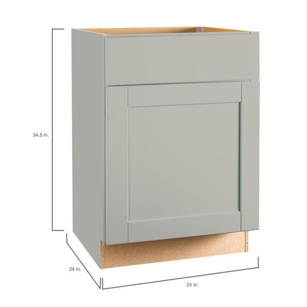 Hampton Bay Shaker Assembled 24x34 5x24 In Base Kitchen Cabinet With Ball Bearing Drawer Glides In Dove Gray Kb24 Sdv The Home Depot