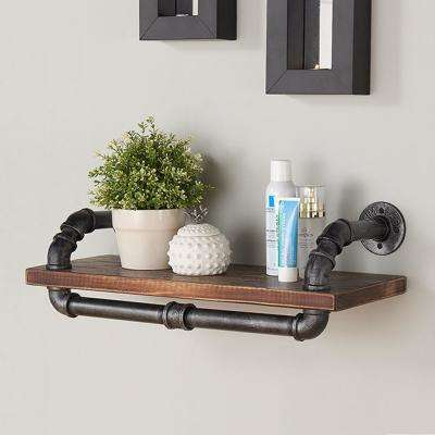 24 in. Silver Isadore Industrial Walnut Wood Floating Wall Shelf