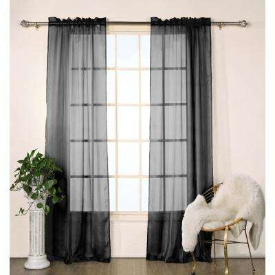 Chianti Satin Black Stripe Rod Pocket Panel Pair - 80 in. W x 84 in. L (2-Piece)