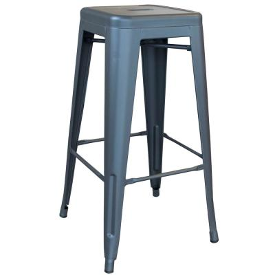 Loft Series 30 in. Indoor/Outdoor Stackable Anti-Rust Coated Metal Bar Stool in Gunmetal