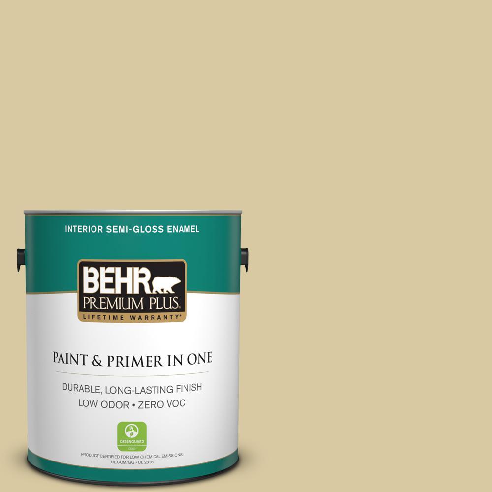 BEHR Premium Plus 1-gal. #380F-4 Ground Ginger Zero VOC Semi-Gloss Enamel Interior Paint