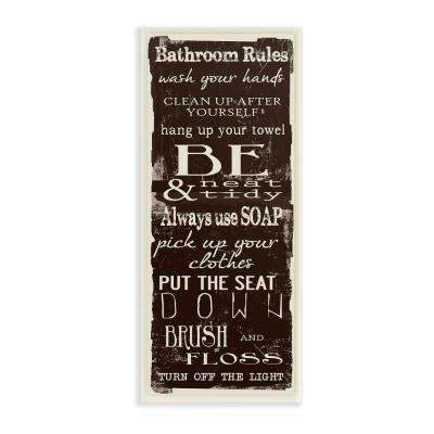 "7 in. x 17 in. ""Bathroom Rules Chocolate White"" by Taylor Greene Printed Wood Wall Art"