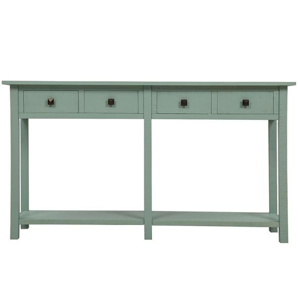 Harper Bright Designs 59 In Rustic Green Standard Rectangle Wood Console Table With 4 Drawers Wf192012aac The Home Depot