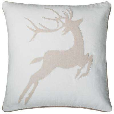 Holiday Dear 20 in. x 20 in. Decorative Filled Pillow