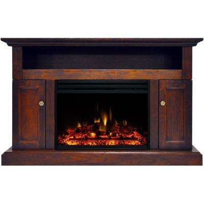Sorrento 47 in. Electric Fireplace Heater TV Stand in Walnut with Enhanced Log Display and Remote Control