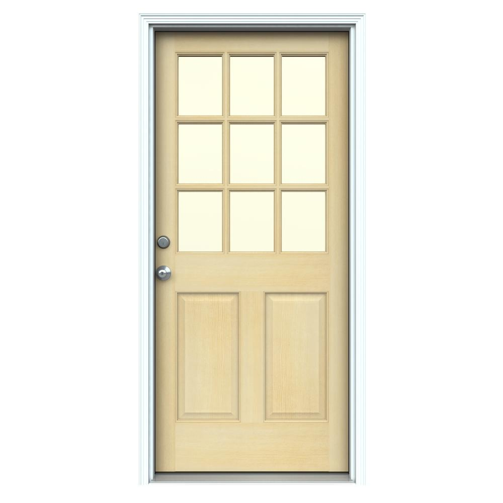 Jeld Wen 32 In X 80 In 9 Lite Unfinished Wood Prehung Right Hand Inswing Front Door W Primed