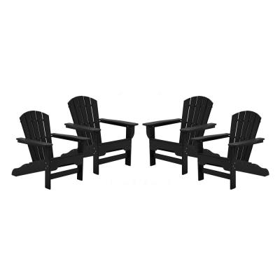 Boca Raton Black Recycled Plastic Curveback Adirondack Chair (4-Pack)