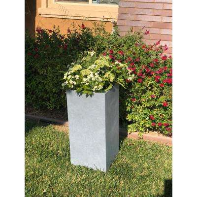 Large 13.8 in. x 13.8 in. x 27.8 in. Cement Lightweight Concrete Tall Planter