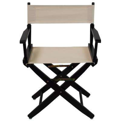 18 in. Extra-Wide Black Wood Frame/Natural Canvas Seat Folding Directors Chair