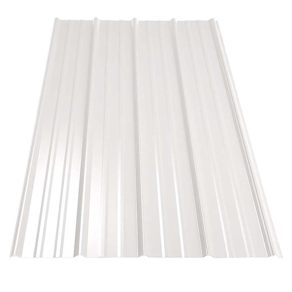 8 ft. SM-Rib Galvanized Steel 29-Gauge Roof Panel in Bone White