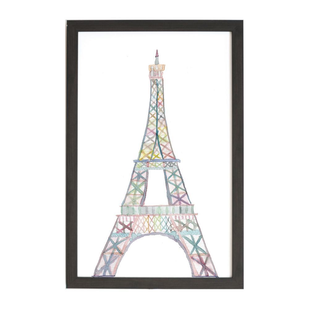 Watercolor Eiffel Tower Ebony Frame Magnetic Memo Board