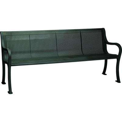 Oasis 6 ft. Perforated Patio Bench with Back in Textured Black