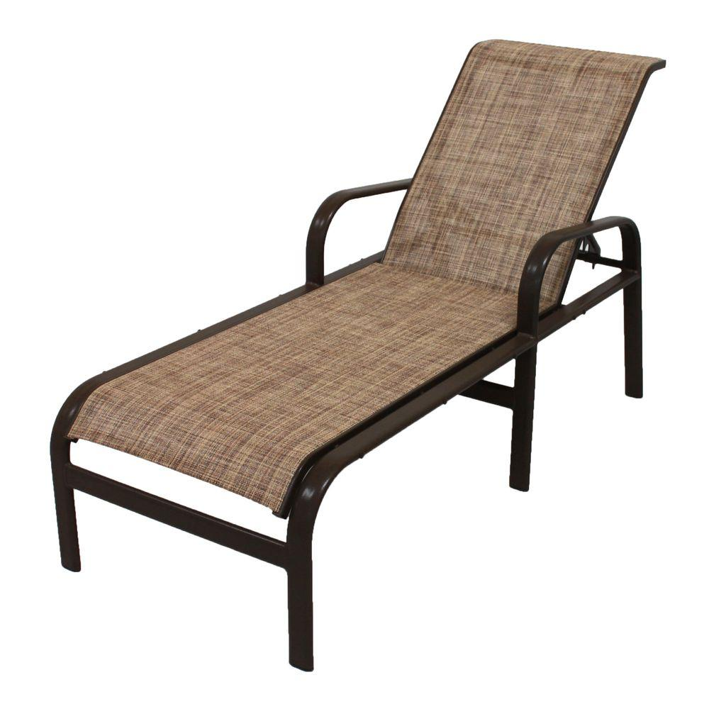 Good Marco Island Dark Cafe Brown Commercial Grade Aluminum Patio Chaise Lounge  With Chesterfield Sling
