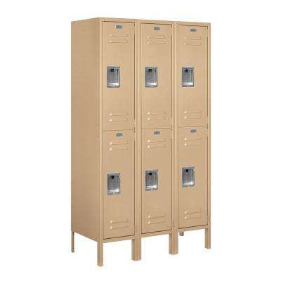62000 Series 36 in. W x 66 in. H x 15 in. D 2-Tier Metal Locker Unassembled in Tan