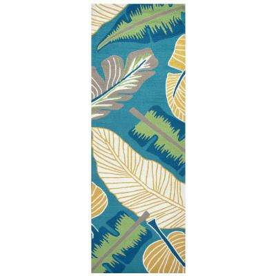Azzura Hill Dark Teal Floral 3 ft. x 8 ft. Outdoor Runner Rug